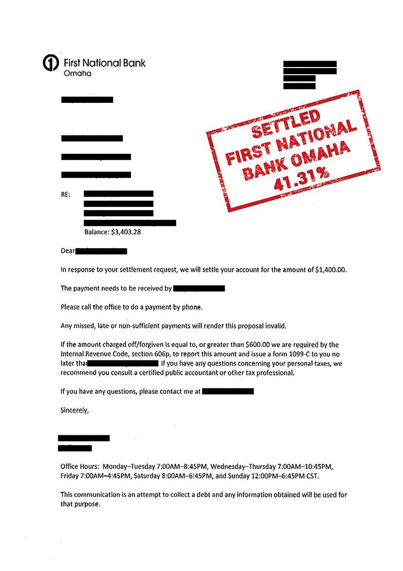 Settlement Letters - Anchor Law Firm